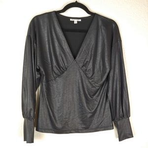Prologue Black Faux Leather Balloon Sleeve Blouse